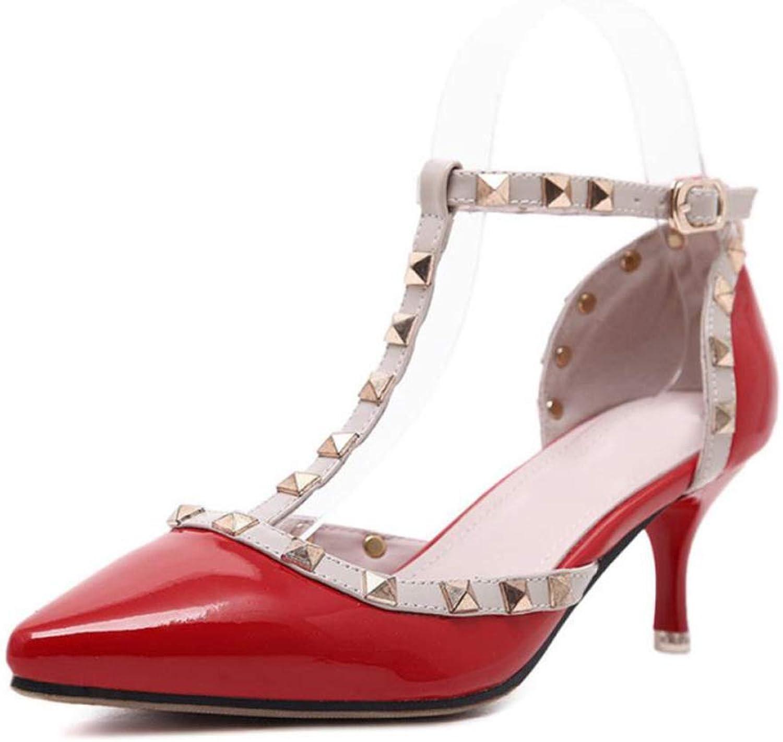 Erhhte Schuhe Damen Spitzen Hochhackigen Sandalen Aushhlten Schnallen Damenschuhe Stiletto Sandalen,rot-39