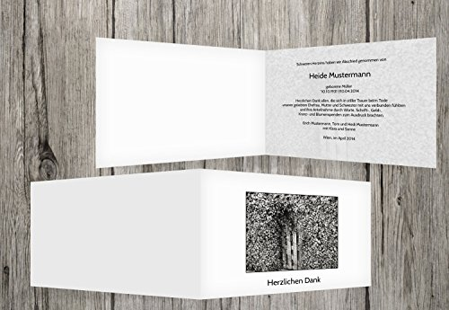 trauerkarten-druck   Danksagung Trauerfall   Danksagungskarten Trauer Efeutür   20 Karten   mit Individualisierung & Umschlägen   in Weiß