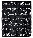 Victoria's Secret Soft FleeceThrow Blanket Black 50x60 NWT