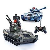 AEDWQ RC Fernbedienung Panzer, Panzerwagen Zwei Stücke, 2,4 GHz Fernbedienung 1/24 Scale Model, Virtual Life Lichter, Simulierte Sound/Aktion, Infrarot-Schlacht