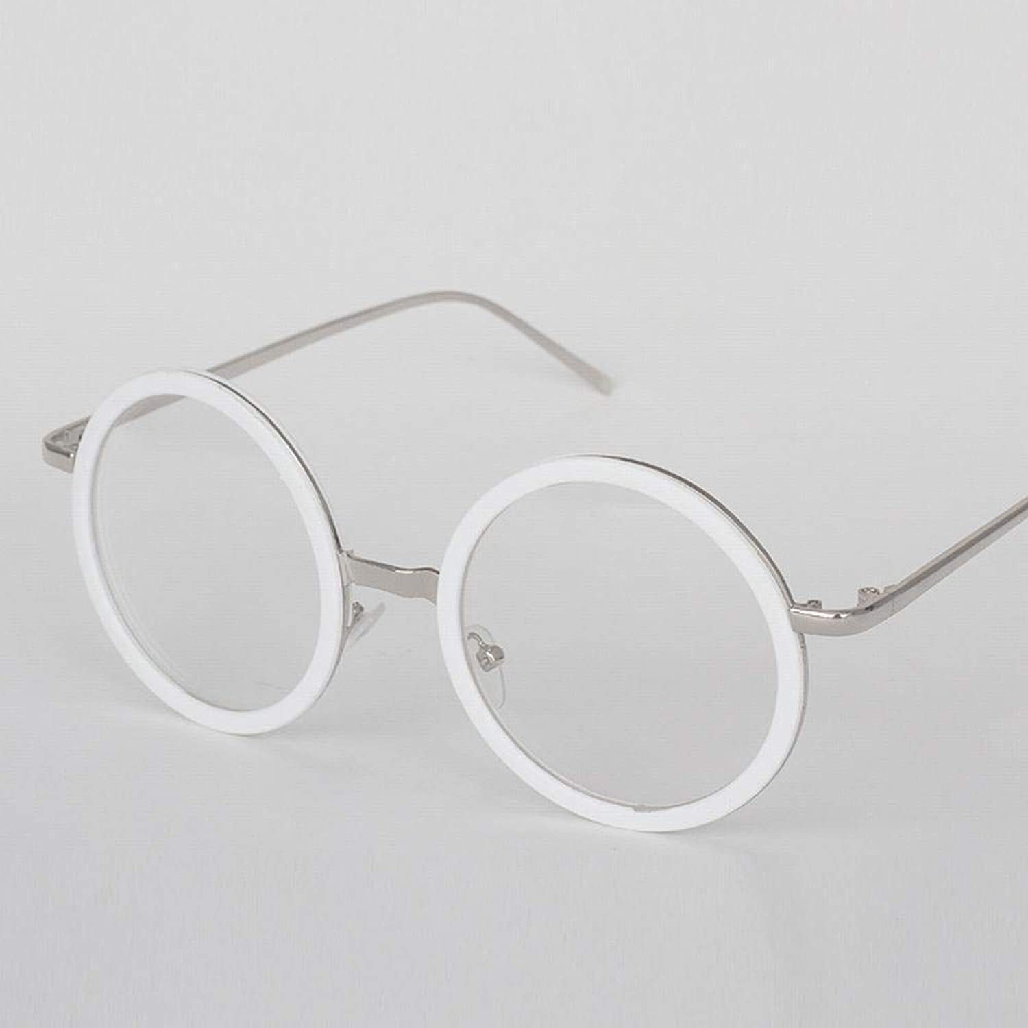 College Round Flat Glasses Frame, Lens Width 50mm. Sunglasses (color   Silver White)