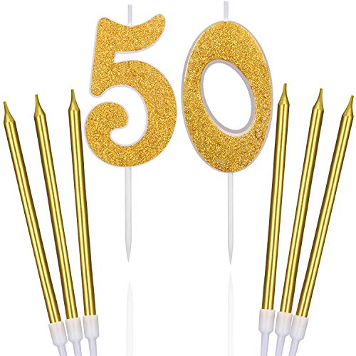 BBTO 50th Glitter Birthday Cake Candles Shining Numeral Candles Cake Topper Decoration and 6 Pieces Spiral Cake Candles with Holders for Birthday Party Wedding Cake Decorations