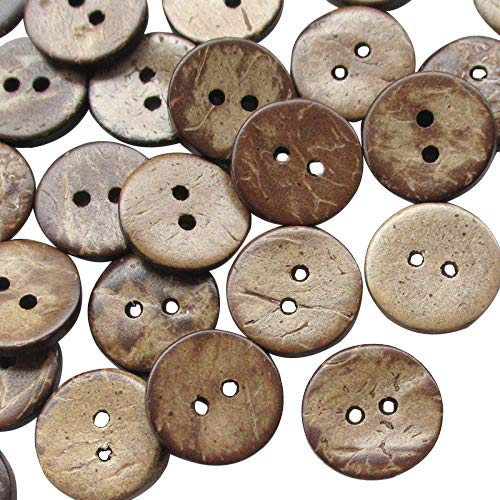 Chenkou Craft 100pcs 5/8'(15mm) Brown Natural Coconut Shell Coco Button 2 Holes Craft Clothe Sewing (5/8'(15mm))