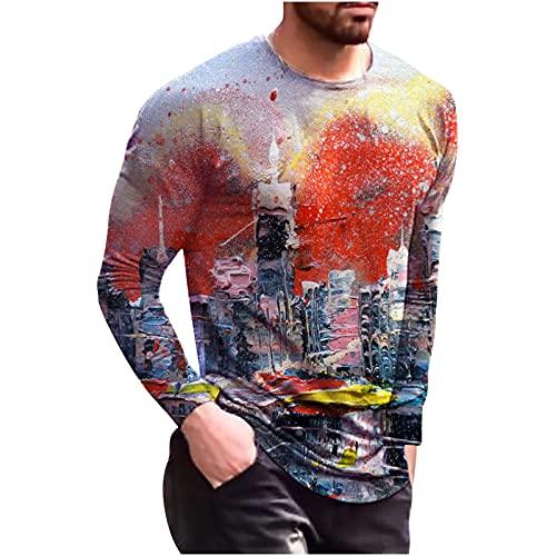 Camiseta de manga larga para hombre, juego estampado con cuello redondo y mangas largas, camiseta de...