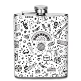 small flask Vintage Musical Pattern Outdoor Portable 304 Stainless Steel Leak-Proof...