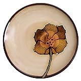 Juego de Vajilla de Cerámica Patrón de flores creativas Plato redondo for refrigerios Plato de filete de cerámica Plato de cena de porcelana de estilo japonés Plato for fruta Plato de almuerzo de post