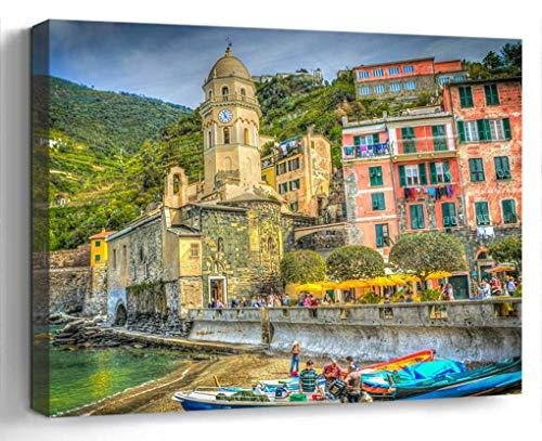 Wall Art Canvas Print Photo Artwork Home Decor (24x16 inches)- Cinque Terre Italy Cliff Amalfi Coast Coast