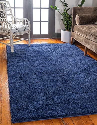 Unique Loom Solo Collection Plush Casual Navy Blue Area Rug (2' x 3')
