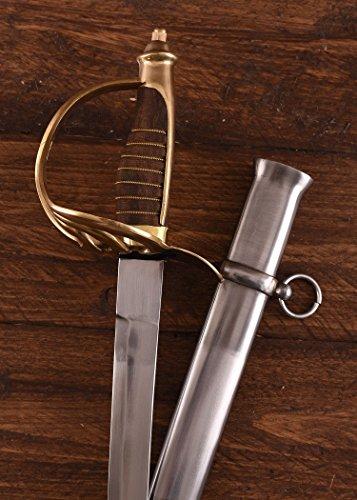 Battle-Merchant Säbel, Kavellerie-Säbel - geschmiedet - brauner Holzgriff mit Scheide - USA - echt aus Metall für Erwachsene