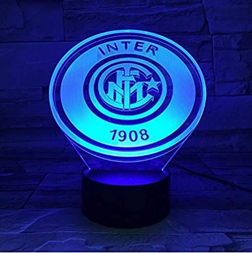 Lampada da illusione 3D Lampada da notte a led Football Club Fc Internazionale Milano Inter Usb Serie A Calcio Lampada da notte da comodino Tavolo Com
