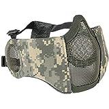 【TERA】頬 耳 保護 メッシュマスク フェイスマスク ハーフマスク フェイスガード スチール 曇らない 布 タクティカル サバゲ― サバイバル 装備 (ACU)