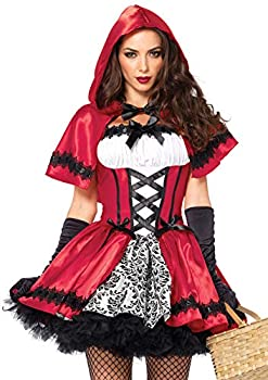 Leg Avenue 2 Piece Gothic Riding Costume Set-Sexy Hooded Cape and Peasant Dress for Women Red/White Small