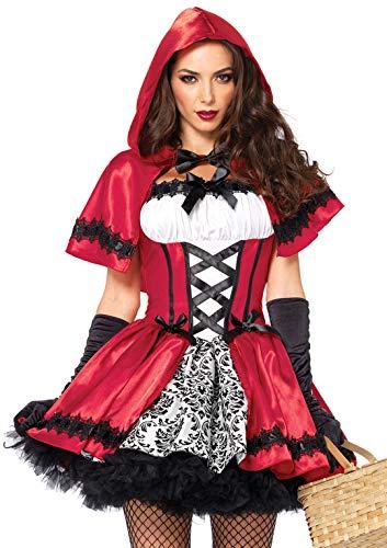 Leg Avenue Disfraz de Caperucita Roja Gótica (M, Rojo/ Blanco)