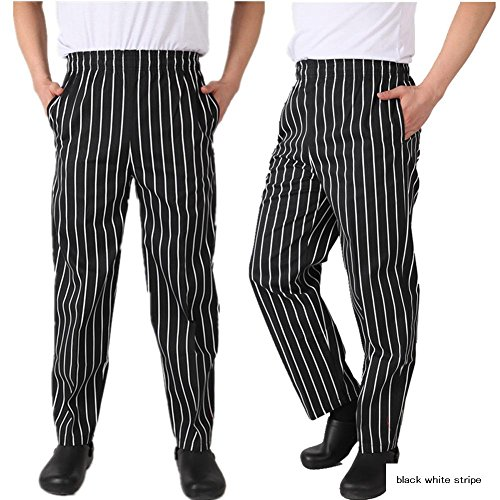 Chef Clothing Classic Baggy Pepper Chef Pants (L, Black White Stripe)