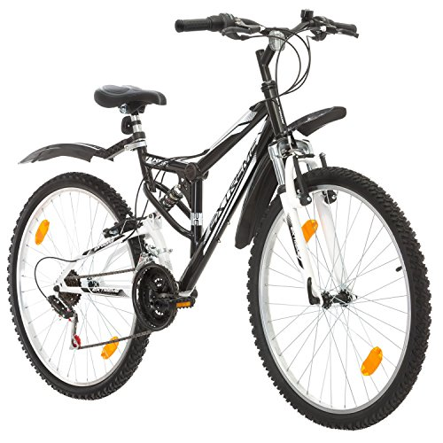 Multibrand, PROBIKE EXTREME, 26x17 430 mm, 26 inch, Mountain Bike, 18 speed, Unisex, Front and Rear Mudguard, White Gloss (Black (Mudguard))