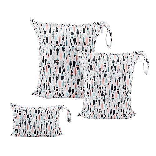 ALVABABY 3 bolsas de pañales húmedas y secas de tela para bebé, impermeables, reutilizables con dos bolsillos con cremallera 3L-H1