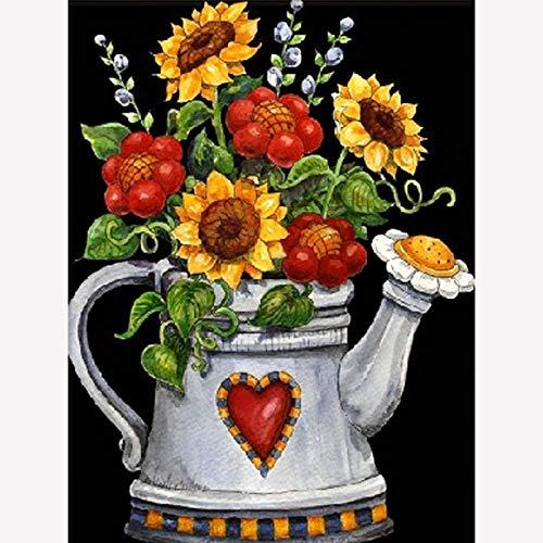 Digital Painting 5D Diamond Oil Painting Kit Full Diamond DIY Art Crafts geschikt voor decoratie van de muur Gieter, bloemen 20 x 30 cm