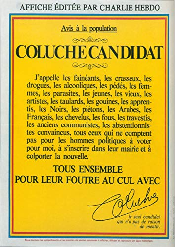 Poster Affiche COLUCHE Avis à la Population Culte