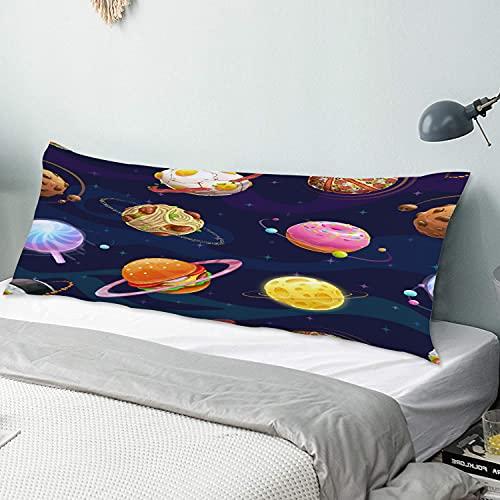 Personalizado Funda de Almohada Larga,Hamburguesa Donut Lollipop Chocolate Cheese Hecho Planetas en el Universo,Funda de Almohada para el Cuerpo con Cremallera Sofá para Dormitorio,54' x 20'