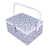 SAXTX Large Sewing Baskets with 99Pcs Sewing Kit Accessories| Wooden Sewing Box Organizer with Multiple Compartments| Sewing Basket for Quilting and Mending,12 x 9 x 6.5 inches