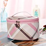 A Cuadros Dama Bolsa de cosméticos Bolsa de Almacenamiento Bolso de Viaje Bolso portátil 12 * 21 * 16 cm Rosa