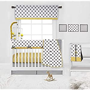 Bacati Grey Yellow Dots Stripes 10-Piece Nursery-in-a-Bag Crib Bedding Set Neutral, 100 Percent Cotton Percale Boys Girls Crib Bedding Set with Long Rail Guard for US Standard Cribs (Gray Yellow)
