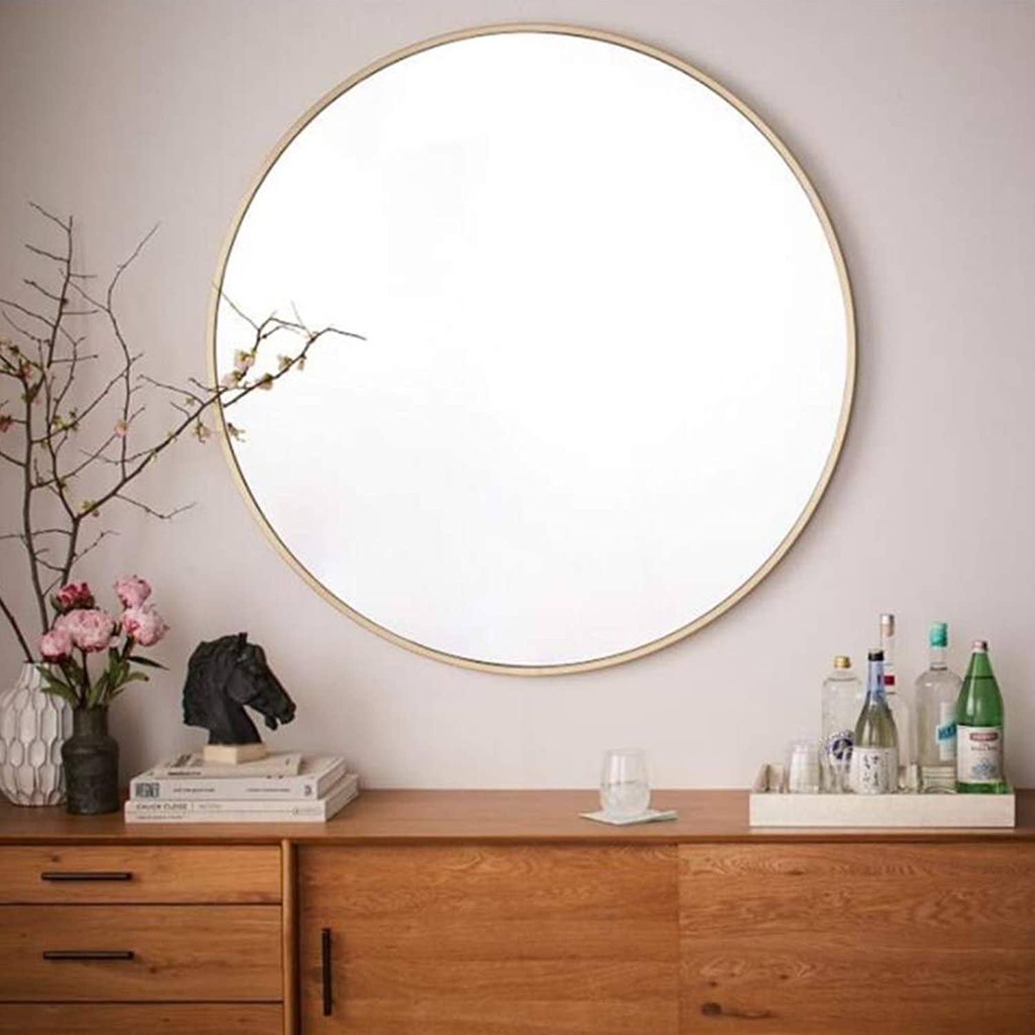 XIUXIU Mirror Home Large Living Room Background Decorative Mirror Simple Metal Round Dressing Mirror (color   40cm)