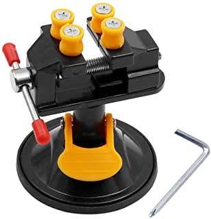 Mesee Universal Mini Drill Press Vise with Suction Cup Carving Vise Walnut Clamp 360 Degrees Rotation Table Bench Vice for...