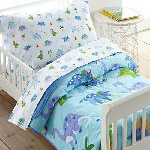 Wildkin 100% Cotton 4 Piece Toddler Bed-in-A-Bag for Boys & Girls, Bedding Set Includes Comforter, Flat Sheet, Fitted Sheet & Pillowcase, Bed Set for Cozy Cuddles, BPA-Free (Dinosaur Land)