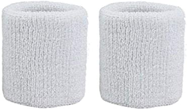 Unisex 1 Pair of White Wristbands (2 Wristbands)
