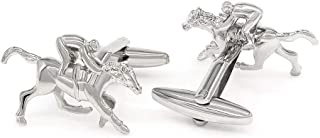 Horse Race Rhodium Plated Cufflinks with a Presentation Gift Box