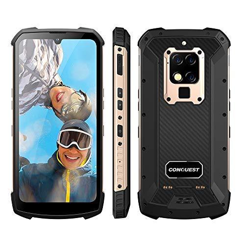 Móvil Libre Resistente,Conquest S16 Cámara de 48MP IP68 Teléfono Móvil,4G SIM Doble 6000mAh Batería,8GB+256GB,Admite NFC,UV/Detección De Frecuencia Cardíaca,Carga Inalámbrica (Gold, 256G)