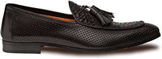 Rubini Mens Luxury Formal Loafers - Spanish Calfskin Tassled Slip-On with Leather Sole - Handcrafted in Spain - Medium Width