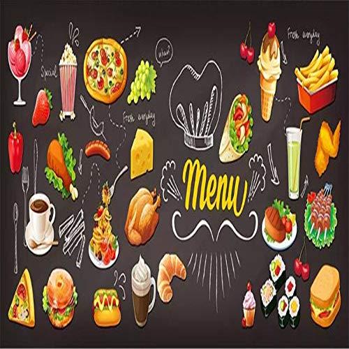 4D behang muurschilderingen, creatieve cartoon burger drinken pizza eten grote kunst print wallpaper poster voor restaurant burger winkel dranken winkel pizza winkel achtergrond muur decor, 76 × 108 in 190 64in×100in 160cm(H)×250cm(W)