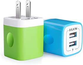 Wall Charger, Ailkin 2.1Amp 2-Port USB Phone Charger Home Travel Plug Power Adapter Replacement for iPhone X 8/7/6 Plus/5S/4S,iPad, iPod, Samsung Galaxy S7 S6, HTC, LG, Table, Motorola and More(2Pcs)