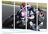 Poster Fotográfico Motorista en Moto Yamaha Movistar Azul Tamaño total: 131 x 62 cm XXL, Multicolor
