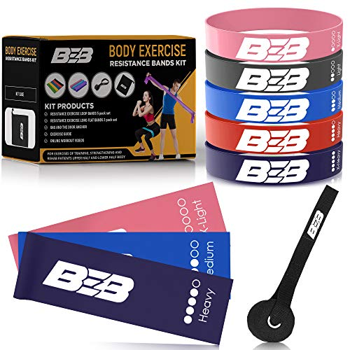 BEB Resistance Bands Set, Exercise Bands for Pilates, Crossfit, Yoga, Physical Therapy. Strength and Stretching. Workout Booty Bands, Bandas Elasticas Fitness de Resistencia with Free Workout Video.