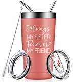 Always My Sister Forever My Friend - Sister Gifts from Sister - Inspirational Friendship Gifts for Women, Best Friend, BBF, Girls - Funny Birthday Gift, Tumbler Cup with Lid and Straw
