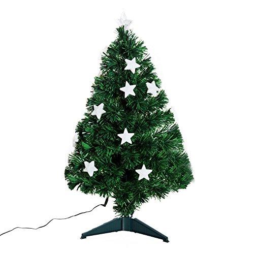 homcom Albero di Natale Artificiale con 90 Rami in PVC e Fibra Ottica 12 LED Φ45 x 90cm