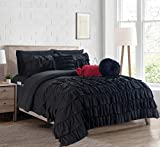 Luxurious, Softest, Coziest 10-Piece Bed-in-a-Bag Cindyrealla Comforter Set, Multiruffle Complete Comforter Set Includes Bed Sheet Set with Double Sided Smart Storage Pockets, Twin/Twin XL, Black