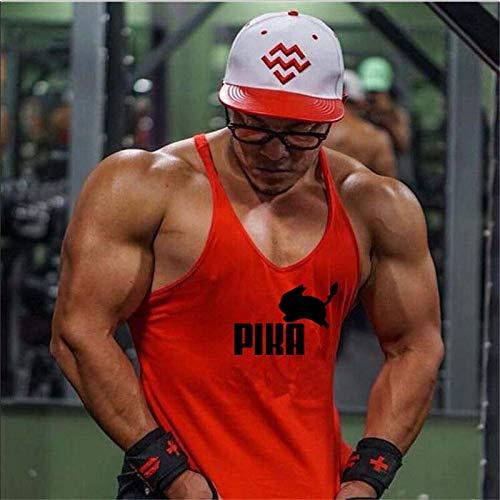 DACEBEIXIN Hombres Culturismo Camisetas de Tirantes,Moda Hombres Culturismo Fitness Stringer Tops Muscular En Oro Chaleco Ropa Entrenamiento Depósito Comics Red XL