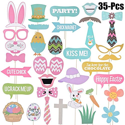 Party Photo Booth Props, Pasen Photo Booth Props 35 Stuk Ei Konijn Photo Booth Props Ei Konijn Mand Fotografie Dress-up Acessories voor Festival Party Supplies, Pasen Decoraties Kit
