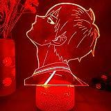 Luz nocturna 3D LED anime Home Room Decor LED, sensor de luz, regalo de Navidad Glow Desktop Light FDJHG