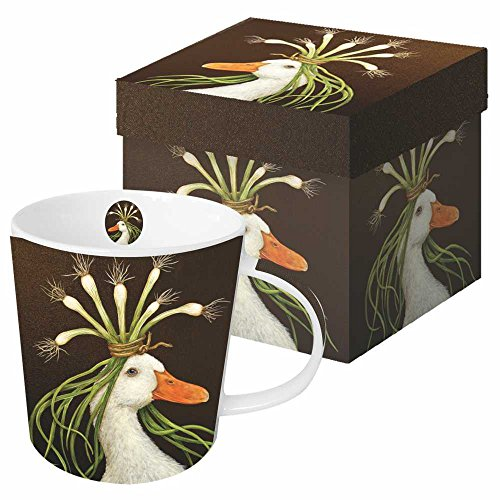 Paperproducts Design Decorative Bone China Mug Gift Box Set - Tabletop Kitchen Décor for Beverages, Hot, Cold Drinks, Tea – Artistic Designs, Decorated Mugs – 13.5 Ounces, Vicki Sawyer Miranda Design