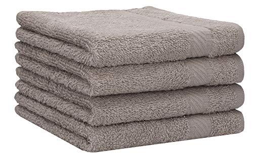 Betz Lot de 4 Serviettes de Bain draps de Bain Palermo 70 x 140 cm 100% Coton Couleur Gris Pierre