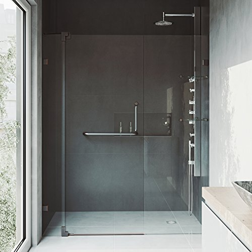 """VIGO VG6042CHCL60 54"""" - 60"""" Pirouette Frameless Pivot Hinge Shower Door with SmartAdjust Technology, 3/8"""" Clear Tempered Glass, 304 Stainless Steel Hardware, in Chrome Finish"""