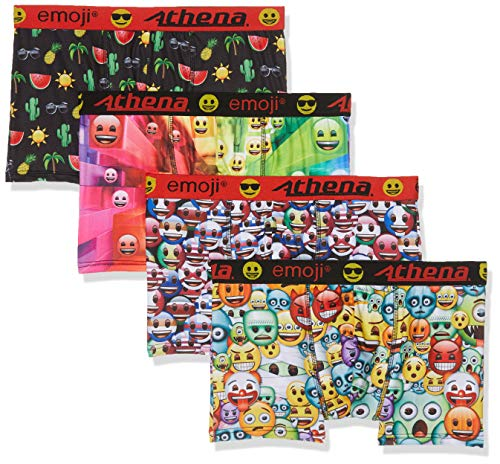 ATHENA Herren Emoji Badehose, Mehrfarbig (Vague/Drapeau/Pasteque/Halloween 9010), Large (Herstellergröße: 4) (4er Pack)