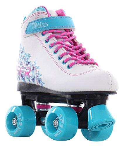 SFR Vision II Rollschuhe Disco Roller Kinder weiß-pink-purple white-blue, 34
