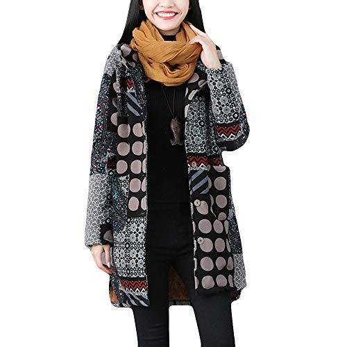 DEATU New Womens Vintage Coats Ladies Winter Warm Outwear Chic Pattern Hoodies Retro Oversize Coats Multiple Style (i-Black,XXX-Large)