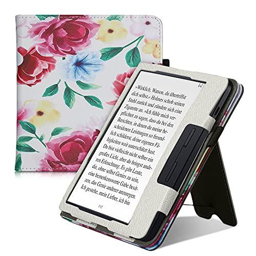 kwmobile Flip Cover kompatibel mit Kobo Libra H2O - Hülle mit Handschlaufe Blumen Mix Aquarell Mehrfarbig Champagner